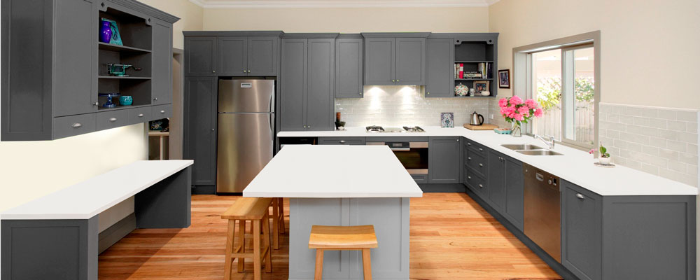 Grey Quartz Kitchen Virtual Showroom Granite Tops UK - Grey and white kitchen units