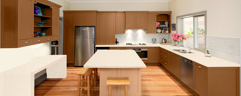 Oak corian kitchen virtual showroom granite tops uk for Coloured kitchen units uk