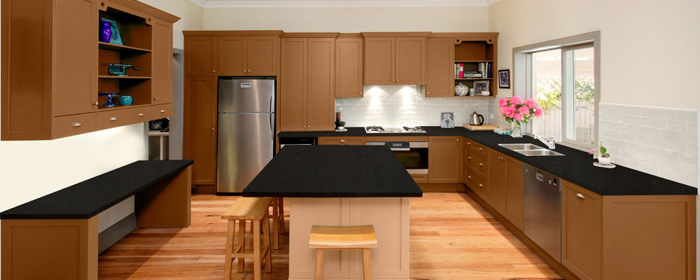 Oak Quartz Kitchen Virtual Showroom Granite Tops UK - Dark grey kitchen units