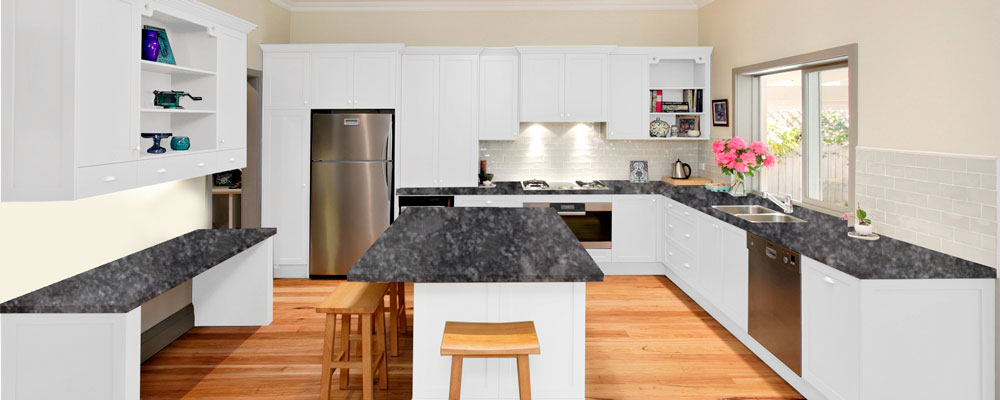 White Kitchen Units With Grey Worktop white quartz kitchen | granite tops uk