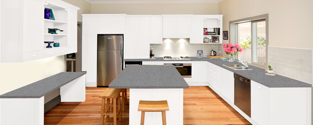 White Quartz Kitchen Virtual Showroom Granite Tops UK - Grey and white kitchen units